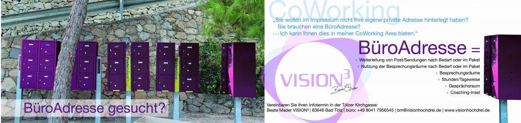 CoWorking VISION³ - Büroadresse gesucht?