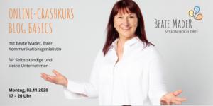 Online-Crashkurs: Blog Basics 2.11.2020