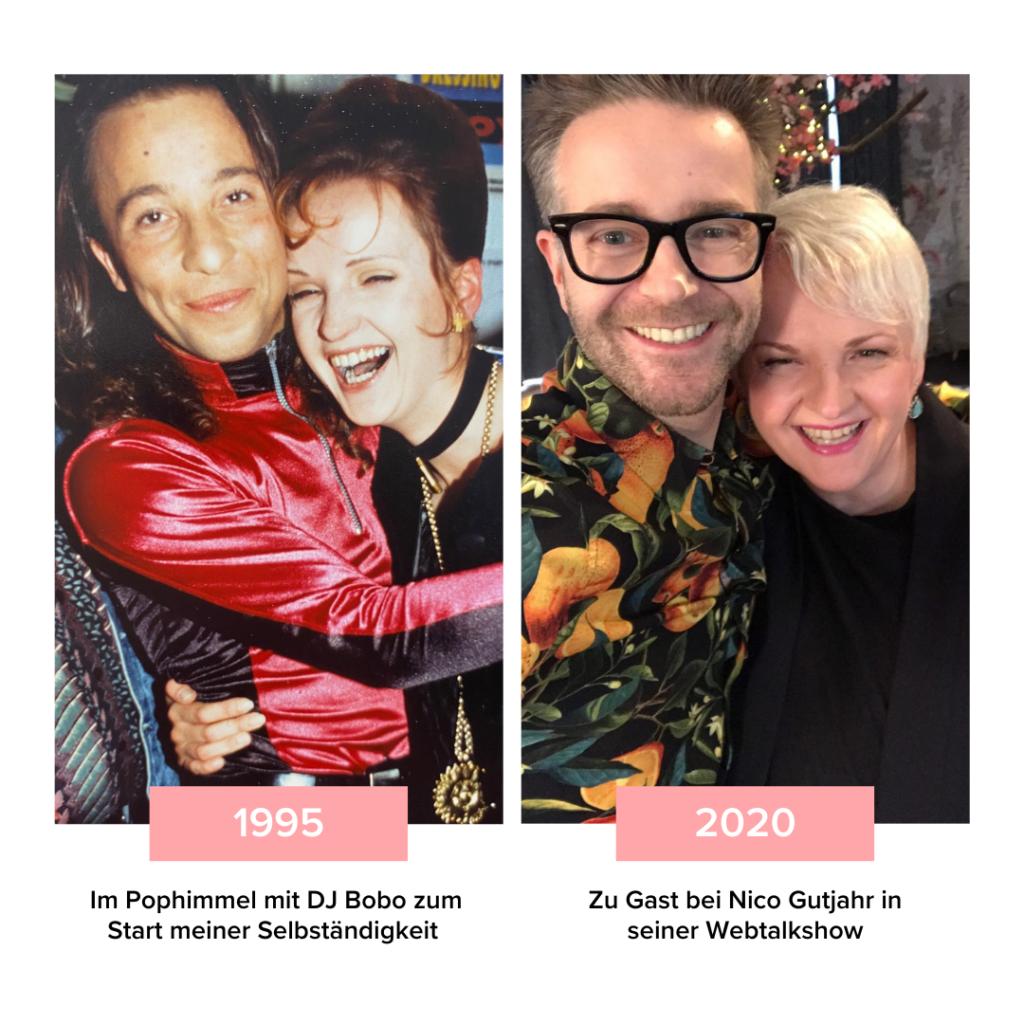 Martina Fuchs mit DJ Bobo, 1995 und 2020 mit Nico Gutjahr