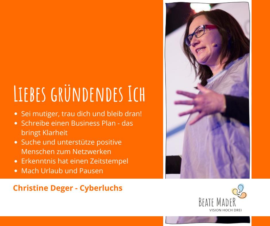 Christine Deger: Tipps an mein gründendes Ich