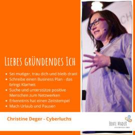 Christine Deger Tipps an mein gründendes Ich