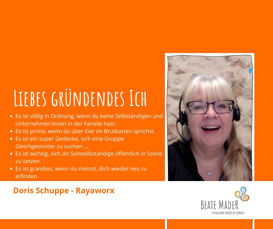 Doris Schuppe: Tipps an mein gründendes Ich
